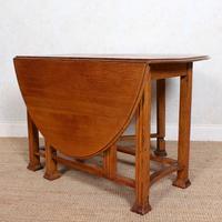 Oak Gateleg Dining Table Carved Solid Folding Kitchen Table (8 of 15)