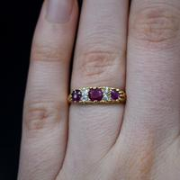 Antique Ruby & Old Cut Diamond 18ct 18K Yellow Gold Scroll Ring (4 of 9)