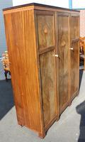 1940s Walnut 3 Door Wardrobe with Inlay Detailing. (7 of 7)