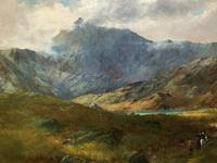 (2of2) Huge Magnificent 19thc Snowdonia Mountain Welsh Landscape Oil Painting (8 of 13)