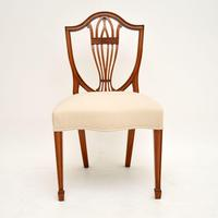 Set of 12 Antique Sheraton Style Shield Back Dining Chairs (3 of 15)