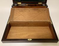 Superb Antique Rosewood Brass Inlaid Writing Slope Box with Double Hinge (8 of 12)