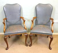 Set of Six Antique Queen Anne Style Walnut Dining Chairs (3 of 15)