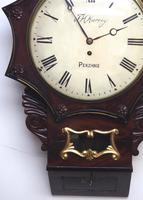 Rare Antique Drop Dial Wall Clock 8 Day Single Fusee Movement Signed J H Harvey Penzance (4 of 12)