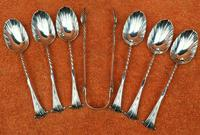 Antique Sterling Silver Hallmarked 1887 Onslow  6 x Tea Spoons & Tongs ,  Josiah Williams & Co, London