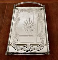 Art Deco Silver Plated Cut Glass Mirror Tray (7 of 11)