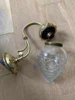Pair of Edwardian Cut Glass Brass Wall Lights, Rewired (6 of 11)