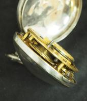 Good Antique Silver Pair Case Pocket Watch Fusee Verge Escapement Key Wind Enamel Dial Robinson London (10 of 11)