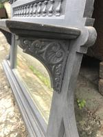 Antique Victorian Cast Iron Overmantle Mirror & Shelf (5 of 8)