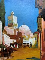 Augusta Coles Moroccan Cityscape Oil Painting Mahogany Fire Screen c.1911 (11 of 16)