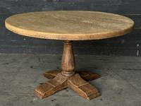 French Round Bleached Oak Farmhouse Dining Table (11 of 19)