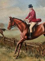 'The Fox Hunt' Original Vintage Country Sporting Pursuit Oil on Canvas Painting (14 of 17)