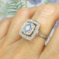 Authentic Art Deco Platinum Rose Cut Diamond & Sapphire Cluster Ring c.1920 (3 of 11)