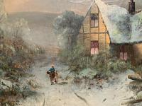 Very Large Outstanding 19th Century British Winter Snow-capped Landscape Oil Painting (9 of 13)