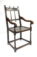 Rare 17th Century Derbyshire Wainscot Chair (9 of 10)