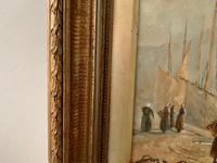 European School 19th Century Oil on Board, Coastal Scene (5 of 5)