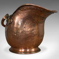 Antique Helmet Scuttle, Copper, Coal, Bucket, Fireside, Bin, Victorian c.1880 (8 of 9)