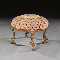 Wonderful French 19th Century A.M.E Fournier Giltwood Stool Tabouret, Lord Ballyedmond