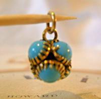 Georgian Pocket Watch Chain Fob 1830s Golden Gilt & Turquoise Dainty Ball Fob (2 of 7)