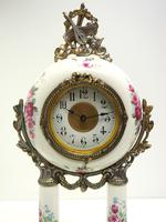 Antique Porcelain Portico Mantel Clock Rose & Blue Floral Mantle Clock (4 of 7)