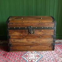 Antique Steamer Trunk Victorian Dome Top Chest Old Rustic Pine Blanket Box + Key (2 of 10)