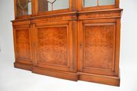 Antique Burr Walnut Breakfront Bookcase / Display Cabinet (7 of 10)