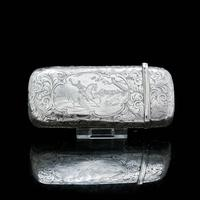 Victorian Solid Silver Cheroot / Cigar Case with a Hand-Engraved Hunting Scene - Alfred Taylor 1853 (4 of 15)