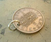 Vintage Pocket Watch Chain Fob 1964 Lucky Silver One Shilling old 5d Coin Fob (4 of 6)