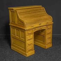 Small Oak Roll Top Desk (4 of 12)