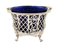 Antique Sterling Silver Pierced Basket with Liner 1926 (7 of 9)