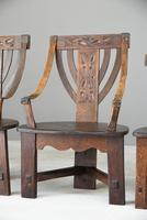 6 Arts & Crafts Carved Oak Chairs (6 of 12)