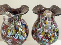 2 Beautiful Italian Murano Fratelli & Torso Millefiori Glass Vases (24 of 34)