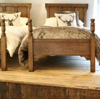 Country Style Matching Pair of Twin Single Oak Beds (3 of 9)