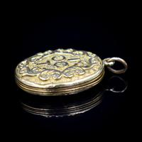 Antique 'IOGT' Rolled Gold Double Sided Engraved Oval Photo Locket Pendant (3 of 9)