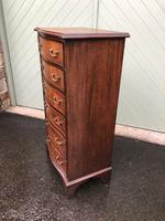 Antique Slim Mahogany Serpentine Chest of Drawers (6 of 8)