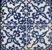 A panel of four square Ottoman Empire 'Dome of the Rock' tiles (3 of 6)