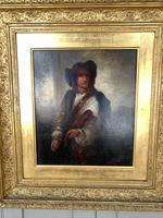 Antique Re-Raphaelite oil painting portrait of a young man with violin (2 of 2) (3 of 10)