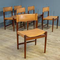 6 Mid Century Rosewood & Leather Chairs