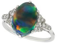 2.05ct Black Opal & 0.22ct Diamond, Platinum Dress Ring c.1925