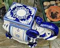 Mid 20th Century French Ceramic Hand-painted Elephant-form Garden Seat (6 of 9)