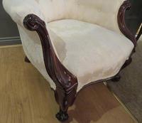 Victorian Walnut Armchair upholstered Cream Brocade (3 of 11)