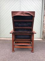 Arts & Crafts Oak & Leather Reclining Armchair (9 of 10)