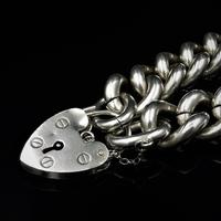 Vintage Heavy Chunky Heart Padlock Sterling Silver Curb Bracelet (10 of 10)