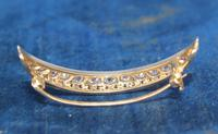 Diamond Crescent Brooch Set with 13 Old Cut Diamonds (7 of 8)