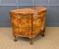 Burr Walnut Queen Anne Style Demi Lune Commode (7 of 11)