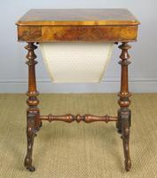 Beautiful Victorian Burr Walnut Sewing Table (5 of 8)