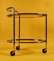 Original 1930s Art Deco Chrome & Mirror Modernist Cocktail Trolley (6 of 7)