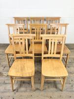 Set of Eight Vintage Beech Chapel Chairs (3 of 16)