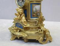 French Napoleon III Bronze Gilt and Porcelain Mantel Clock by Japy Freres (9 of 11)