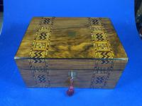 Victorian Walnut Jewellery Box With Inlaid Tunbridge Wars Bands.